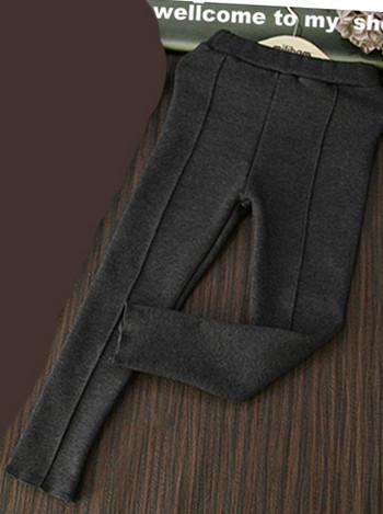 Детски еластични панталони - клин за момичета - сив и черен