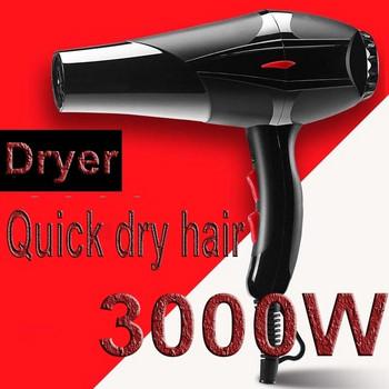 Професионален сешоар с 3000W мощност, с концентратор и  два гребена в черен цвят