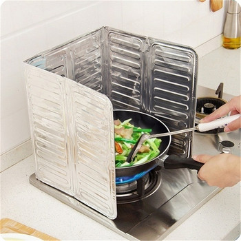 Креативна алуминиева преграда за предпазване от пръскаща мазнина при готвене