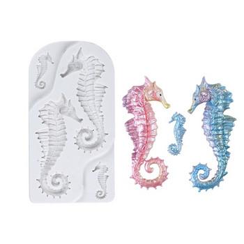 Бяла силиконова форма за печене издържаща до 230 градуса с морски кончета