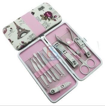 Комплект от 12 инструмента за грижа за ноктите + калъф за съхранение с цветен десен