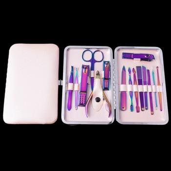 Професионален комплект от 15 части за маникюр и педикюр с калъф за съхранение