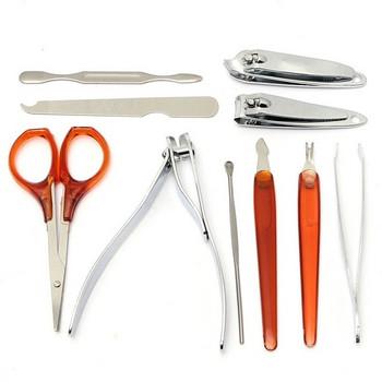 Комплект от 10 броя инструменти за маникюр и педикюр от неръждаема стомана с калъф за съхранение
