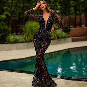 ΝΕΟ μοντέλο γυναικείο μακρύ φόρεμα με μακριά μανίκια και δαντέλα