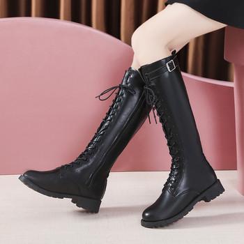 Μακριά γυναικείες μπότες  αρβίλας  οικολογικές δερμάτινες  με κορδόνια - μεγάλα νούμερα