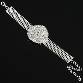 Елегантна дамска сребриста гривна с камъни във формата на часовник