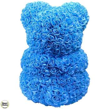 Ръчно изработено мече от рози в синьо със жълто сърце 37 см