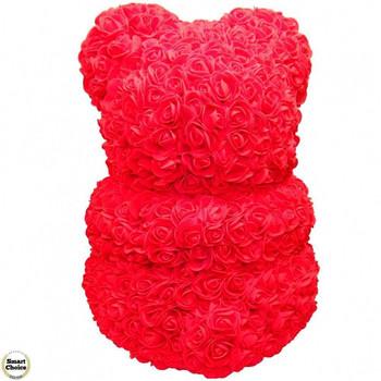 Ръчно изработено мече от рози в червено с бяло сърце 37 см
