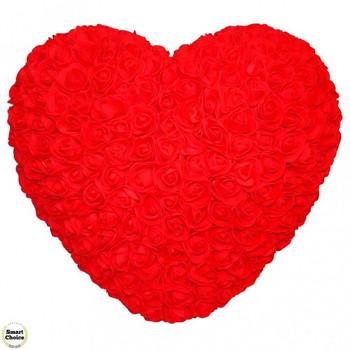 Ръчно изработено сърце от рози в червено 32 см. Модел DM-9082