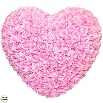 Ръчно изработено сърце от рози в розово 32 см. Модел DM-9083