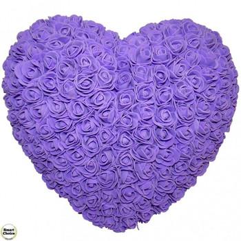 Ръчно изработено сърце от рози в лилаво 32 см. Модел DM-9084