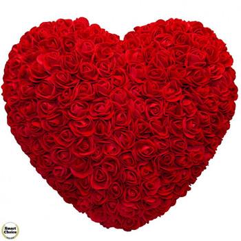 Ръчно изработено сърце от рози в тъмночервено 32 см. Модел DM-9085