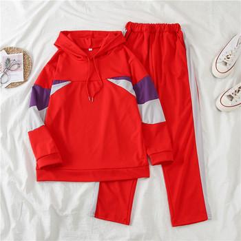 Спортен дамски екип от две части - суичър с качулка и прав панталон