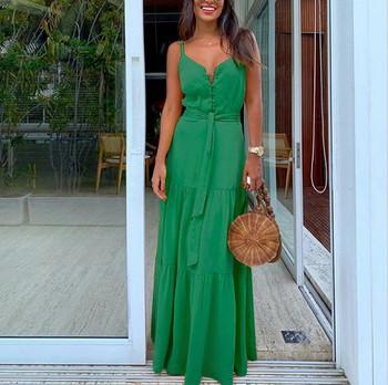Κομψό γυναικείο μακρύ φόρεμα με λεπτούς ιμάντες ώμου και κορδόνια