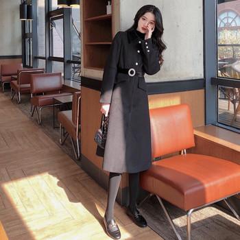 Вълнено дамско палто с класическа яка и колан