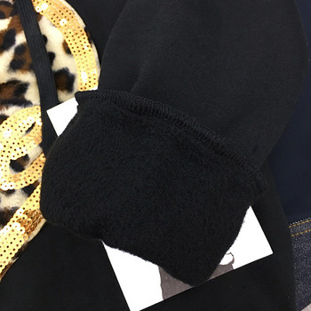 Спортно-ежедневен дамски суичър с качулка, леопардова апликация и пайети