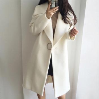 Стилно дамско вълнено палто с копче