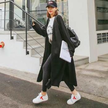 Ежедневна дамска дълга жилетка с джобове