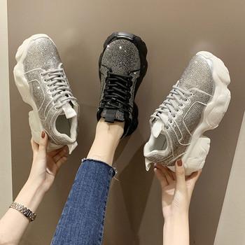 НОВ Модел дамски маратонки с камъни и връзки