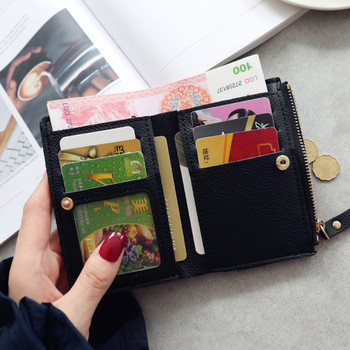 Casual μικρό γυναικείο πορτοφόλι από δέρμα eco με κεντήματα κεράσια