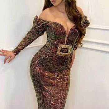Официална дамска дълга рокля с пайети и колан