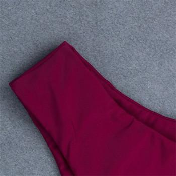 Изчистен модел бански костюм от две части в цвят бордо и  горнище тип лента