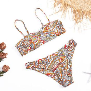 Цветен бански костюм от две части с горнище тип бриджитка