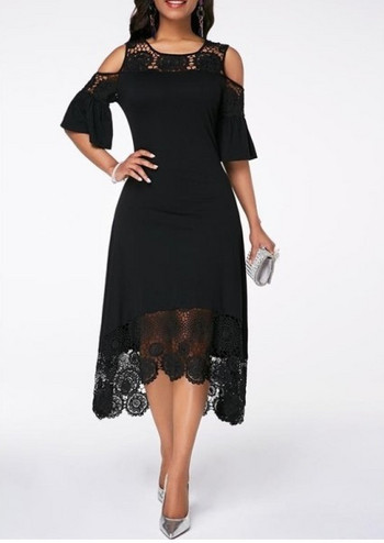 Κομψό ασύμμετρο γυναικείο φόρεμα με δαντέλα και γυμνούς ώμους