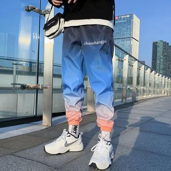 Ежедневен мъжки панталон с надпис в преливащи се цветове