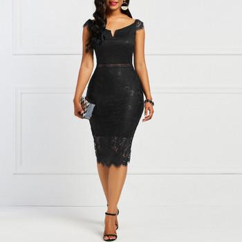 Κομψό γυναικείο φόρεμα με δαντέλα και γυμνούς ώμους