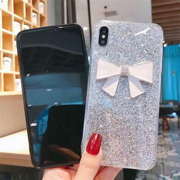 Калъф за  iPhone XS с лъскави частици и 3D панделка