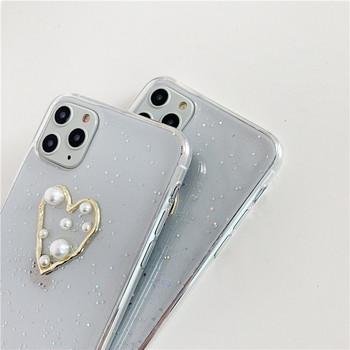 Прозрачен калъф за  iPhone 11 Pro Max със сърце,перли и лъскави частици