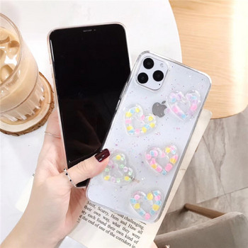 Прозрачен силиконов калъф с 3D цветни сърца за iPhone 11 Pro Max