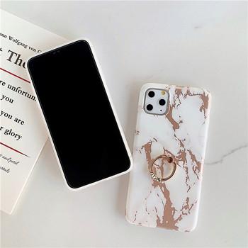 Калъф за iPhone 11 Pro Max с мраморен ефект и метален пръстен