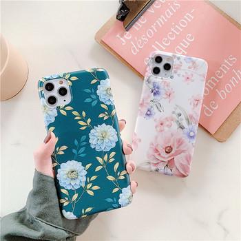 Силиконов калъф за iPhone 11 Pro Max с флорален десен - три цвята