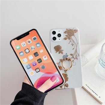 Прозрачен калъф със златисти цветя и метален пръстен за iPhone 11 Pro Max