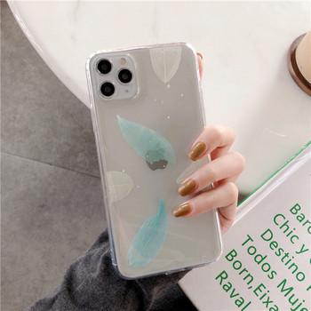 Прозрачен калъф с листа и лъскави частици за iPhone 11 Pro Max