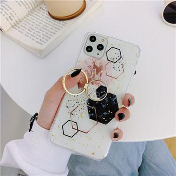 Калъф за iPhone 11 Pro Max с метален пръстен и златисти лъскави частици