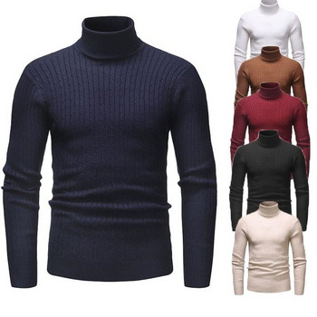 Мъжки пуловер от тънко плетиво с висока яка