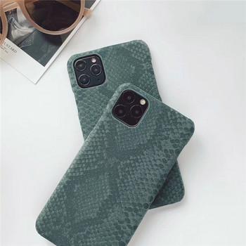 Калъф за iPhone 11 Pro Max със змийски принт в зелен цвят
