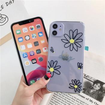 Прозрачен силиконов калъф за  iPhone 11  с маргаритки