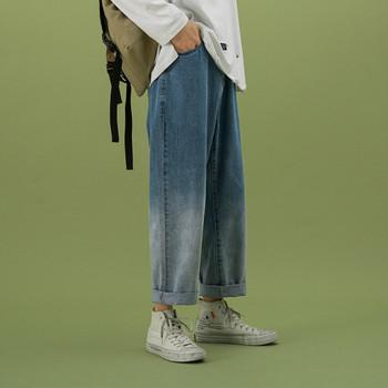 Широк модел мъжки сини дънки с надпис