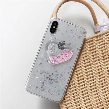 Прозрачен калъф с 3D сърце и лъскави частици за  iPhone X/XS