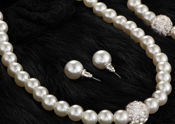 Елегантен дамски комплект от колие, обеци и гривна от перли