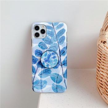 Калъф за iPhone 11 Pro Max с флорален десен и пръстен в син цвят