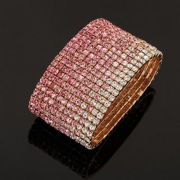 Стилна дамска гривна с розови камъни