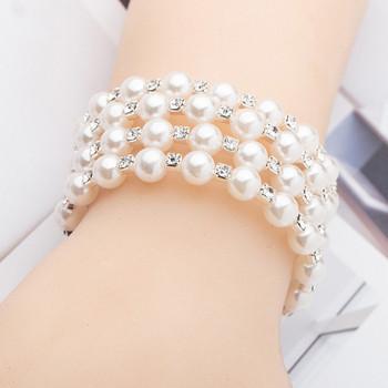 Стилна дамска  гривна с перли и камъни