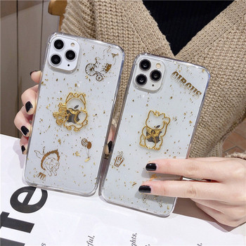 Прозрачен калъф за iPhone 11 Pro Max с златисти частици- два модела