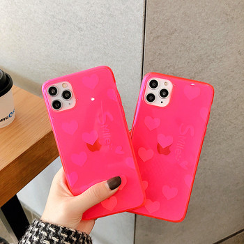 Силиконов калъф със сърца в неоново розово за iPhone 11 Pro Max