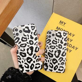 Калъф за iPhone 11 Pro Max с леопардов десен в черно-бял цвят